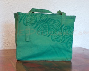 Green Reusable Fabric Market Bag with Bodhi Leaves Block Print 100% Cotton Canvas Duck Handmade Grocery Shopping Tote