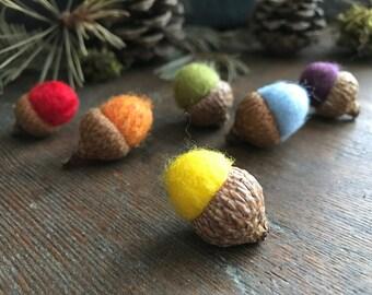 Felted wool acorns, set of 6, bright rainbow