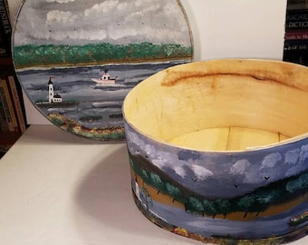 Round Rustic Wooden Box Large Vintage Denmark Cheese Container Hand Painted Art Ocean Summer Seaside Landscape Lighthouse Storage Display
