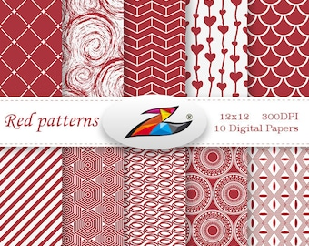 Labor Day Sale Red Digital Paper scrapbook paper geometric pattern Red white pattern red background Printable Paper invitation