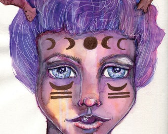 Athena- Watercolor Large Giclee Art Print by Amber Button