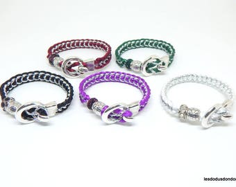 Women bracelet, girl, teen, braided, Pearl, Burgundy, green, black, purple, white