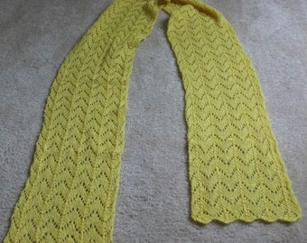 Yellow handknit lace scarf