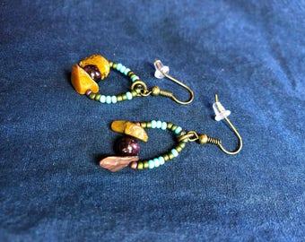 Garnet & Tiger Eye Earrings
