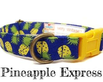"Tropical Dog Collar - Pineapple Dog Collar - Summer Dog Collar - Fruit Dog Collar - Antique Metal Hardware - ""Pineapple Express"""