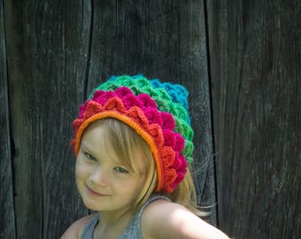 Dragon Scale Rainbow Kerchief, Ready To Ship, Hair Scarf, Mermaid Scale scarf, Festival Wear, Bandana, Back To School, Crochet Headband