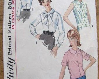 Vintage Simplicity Pattern 5418 Women's Blouse Pattern Size 14 Short Sleeve Long Sleeve Sleeveless