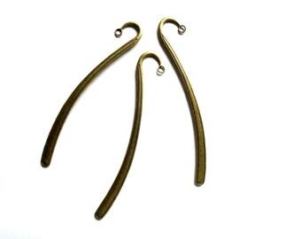 Large bookmark shaped VOLUTE 12 cm antiqued bronze - elegant simplicity