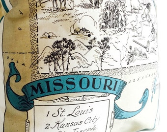 Missouri Vintage Map State Pillow Cover with Insert