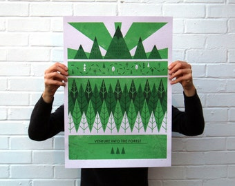 Venture Into The Forest | Screen Printed outdoor Silk Screen Poster | Illustrated Hand Printed forest Art Print | Screen Print Poster