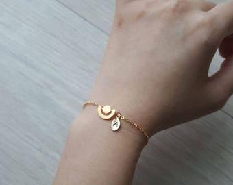 Delicate Petite full moon Bracelets,Delicate sun Bracelet,Bridesmaid gift,initial bracelet, Layering Bracelet