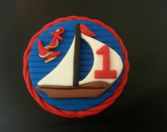 Fondant edible nautical birthday cake topper