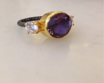 Amethyst two color ring with zirconium stones, gold coat and oxidized finish over sterling silver, amethyst ring, zircon ring, oxidized ring