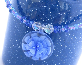 Blue Lampwork Glass Flower Pendant Memory Wire Necklace, Handblown Floral Implosion Pendant, Swarovski Crystals, Pink Lined Blue Glass Beads