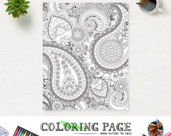 Adult Printable Coloring Page Paisley Pattern Book AntiStress Art Therapy Instant Download Zen Digital