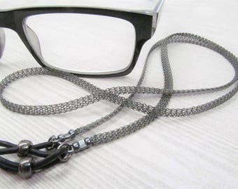 Metal ribbon black eyeglass chain; Reading Glasses Holder Necklace; Glasses Leash; Black Glasses Chain; Glasses Lanyard; for men