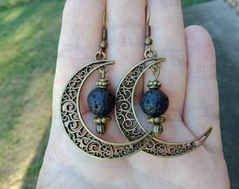 Lava Earrings Oil Diffuser Earrings Bronze Earrings Filigree Moon Earrings Boho Earrings Womans Earrings Dangle Earrings Beaded Earrings