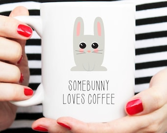 rabbit cup, somebunny loves you, somebunny mug, bunny mug