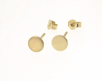 Tiny Stud Earrings - Ear Studs, Round Circle 14k Gold Circle Earring Studs Celebrity Style Yellow, White or Rose Gold