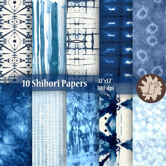 Diy Printable Paper Indigo Shibori 12x12 Blue Digital Paper
