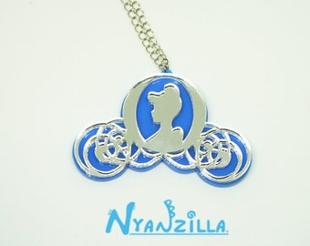 Cinderella Princess Midnight Magic Carriage Necklace Acrylic