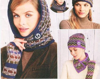 Simplicity 1216 -  Misses' Cold Weather Accessories - Neck & Head Warmer, Slouch Hat, Headband / Ear Warmer, Scarflette / Fingerless Gloves
