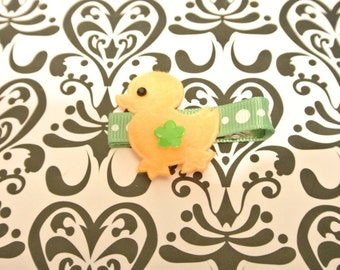 Yellow ducky with green background RIGHT SIDE hair clip