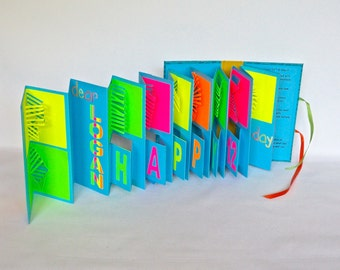 Birthday POP UP Accordion BOOk Card Custom Order ORIGINAL w/Hard Cover Binding Hand Cut In Neon Colors Pink, Orange, Green, Yellow Blue OOaK