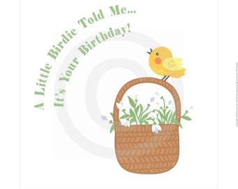 5.5x5.5 inches Birthday Card - A Little Birdie Told Me