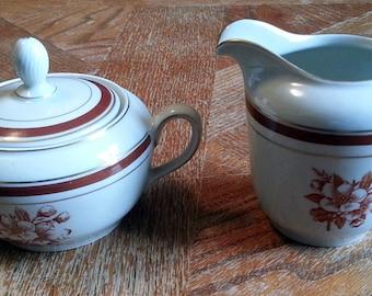 Vintage Red Floral Sugar and Creamer Set - K.P.M. - Made in Poland - Royal Ivory