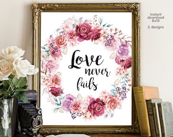 Love Never Fails, wedding decor, valentine gift, livingroom decor, floral decor typography inspirational wall decor, Motivational Wall Art