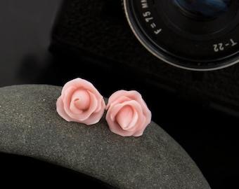 Pale pink rose earrings, Pink stud earrings, rose stud earrings, minimalist earrings, small tiny earrings bridal Valentines bridesmaid gifts