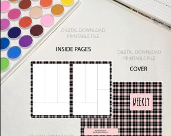 Printable Planner Insert | B6 | Weekly Undated Pink Black and White Plaid Traveler's Notebook DIGITAL DOWNLOAD