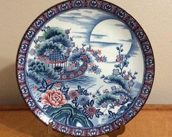 Large Blue Asian River Scene Plate - Vintage Japanese Porcelain Plate - Hand Painted - Arnart Imports Japan