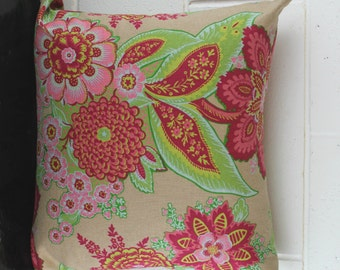 French Linen Floral Garden Design Exclusive Cushion Pillow Cover by Peacock and Penny. 45cms x 45cms