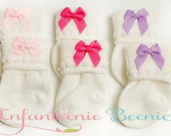 NEWBORN SOCK SET, newborn socks, baby socks, socks for baby girls, newborn socks with bows, newborn girl socks, newborn girl clothes, baby