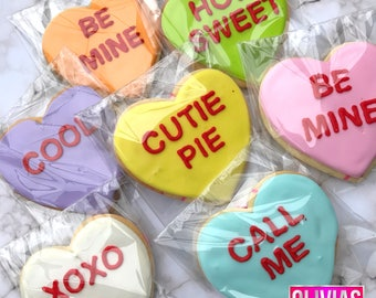 CONVERSATION HEARTS   Decorated Valentine's Day Sugar Cookies Set of 14 Cute Be Mine xoxo