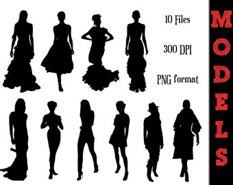 Women Model Silhouettes // Fashion Models Silhouette // Red Carpet Clipart // Bridal Silhouettes