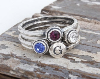 Design your Own Stacking Ring Set with Birthstones and Initials, Sterling Silver Stackable Rings. Personalized Mother's Day Gift for Mom.
