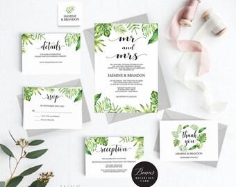 Rustic Wedding Invitation Template, Tropical Wedding Invitation Printable, Tropical Invitation, Cheap Invitation, PDF Instant Download #E036