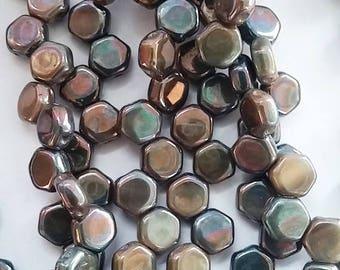 Hodge Podge Honeycomb Seafoam Nebula, Hex 2-Hole Beads Czech Glass 6mm, 699991-15001 30 beads
