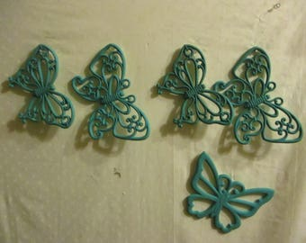 Teal Butterfly Burwood Butterflies For Your Wall group of 5 Duck Egg Blue