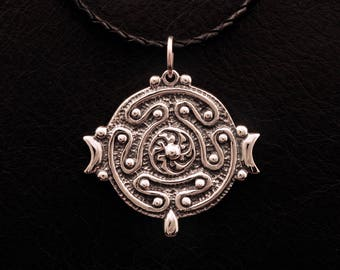 Hekate's Strophalos pendant, 925 sterling silver, Hecate, wheel, wicca, magic, witch, witchcraft, pagan, greek goddess, lost wax casting