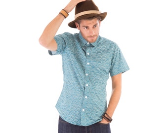 Mens 100% Cotton Short Sleeve Slim Fit Shirt Green Boats Print