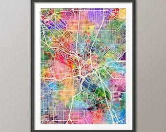 Dallas Map, Dallas Texas City Map, Art Print (2989)