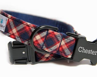 Personalized Tartan Dog Collar, Personalized Dog Collar optional, Plaid Red and Blue, The Preston