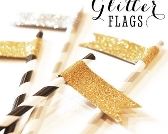 Gold Glitter Straw Flag Stickers 24pk. Holiday party decor. Glitter adhesive flags. Gold Party Decor Weddings, Birthdays. Adhesive Labels
