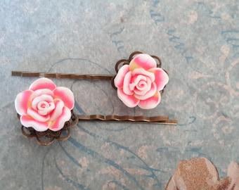 Pink Rose - Polymer Rose Brass Hairpin