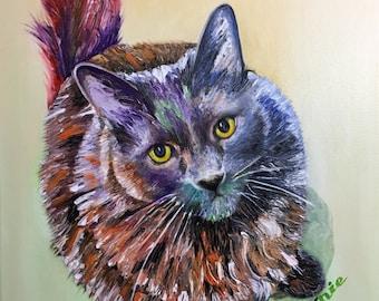 Custom pet painting, custom cat painting, oil pet painting, oil cat painting, abstract cat painting
