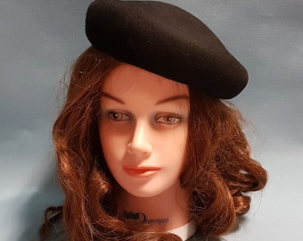 1950's Black Felt Pillbox Style Hat